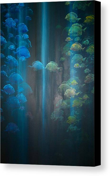 Fish Canvas Print featuring the painting Dialogue II by Ana Bikic
