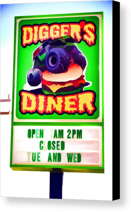 Digger's Diner Canvas Print featuring the painting Digger's Diner by Jeelan Clark