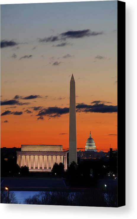 Metro Canvas Print featuring the digital art Digital Liquid - Monuments At Sunrise by Metro DC Photography