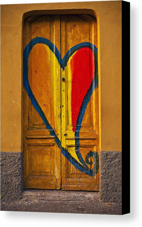 Door Canvas Print featuring the photograph Door With Heart by Joana Kruse