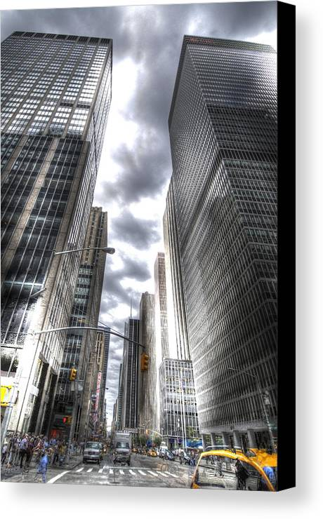 City Canvas Print featuring the photograph Downtown Hdr by Robert Ponzoni