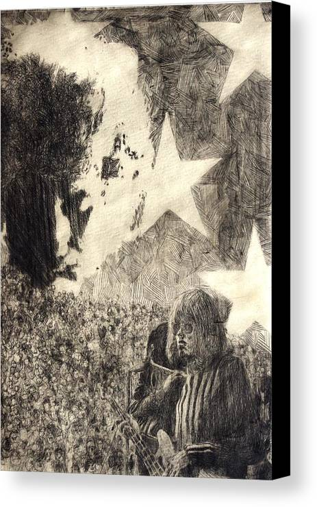 Music Canvas Print featuring the drawing Dreaming by Rick Ahlvers