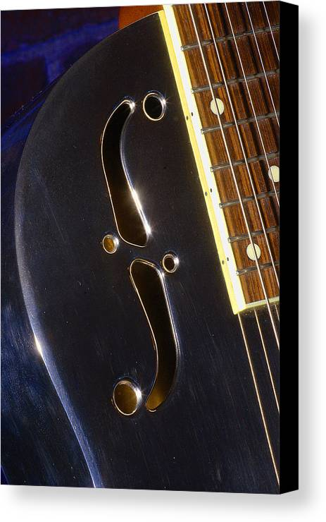 Music Canvas Print featuring the photograph Eds Guitars Steel1 by Art Ferrier