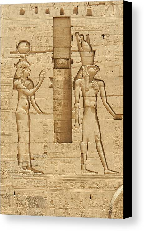 Karnak Canvas Print featuring the photograph Egyptian Wall Carving by David Henderson