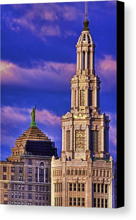 Electric Building Canvas Print featuring the photograph Electric Liberty by Don Nieman
