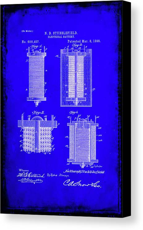 Patent Canvas Print featuring the mixed media Electrical Battery Patent Drawing 1e by Brian Reaves