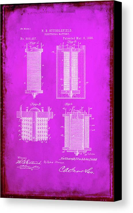 Patent Canvas Print featuring the mixed media Electrical Battery Patent Drawing by Brian Reaves