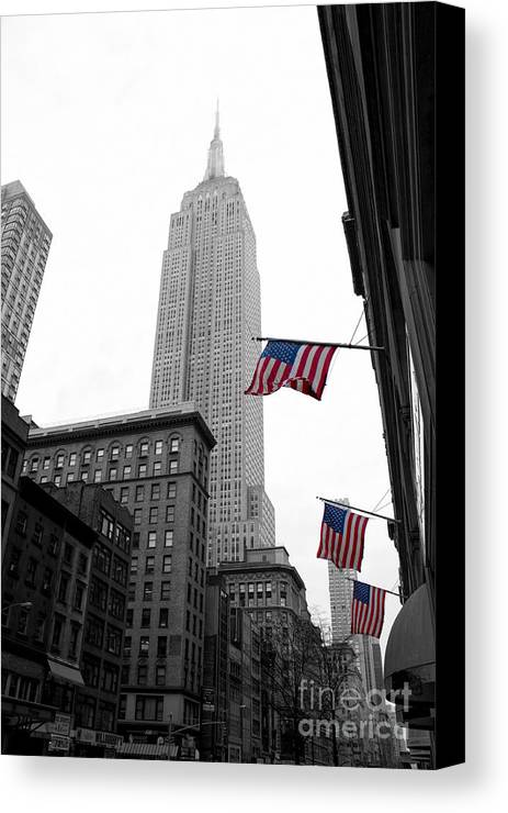 Manhattan Canvas Print featuring the photograph Empire State Building In The Mist by John Farnan