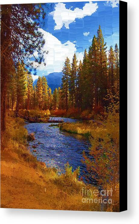 Berry Canvas Print featuring the painting Evening Hatch On The Metolius River Painting 2 by Diane E Berry
