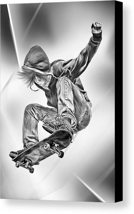 Extreme Canvas Print featuring the digital art Extreme Skateboard Jump by Julie L Hoddinott