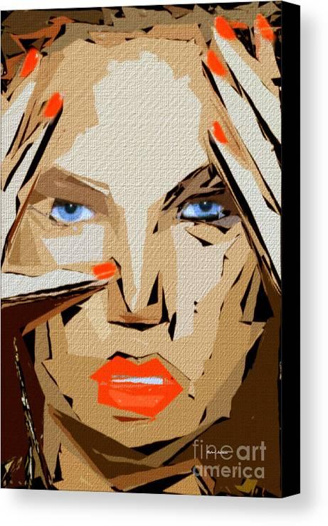 Female Canvas Print featuring the digital art Facial Expressions Xix by Rafael Salazar