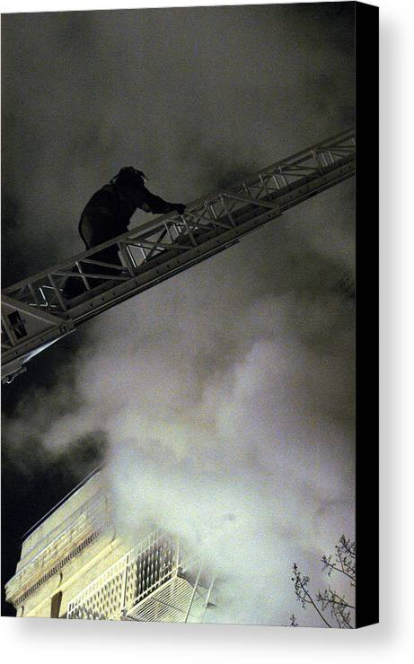 Fireman Canvas Print featuring the photograph Fireman Washington Dc by Thomas Michael Corcoran