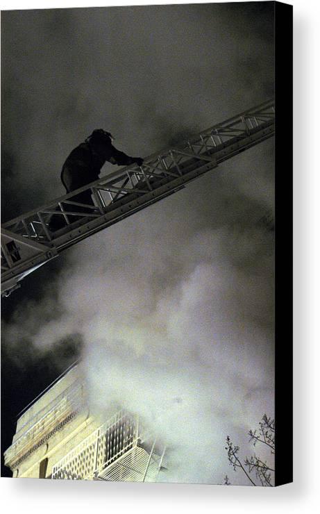 Fireman Canvas Print featuring the photograph Fireman Washington Dc by Thomas Michael Corcoran