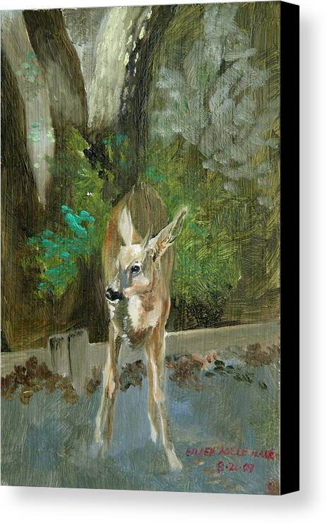 Deer Canvas Print featuring the painting First Young Buck Pad by Eileen Hale