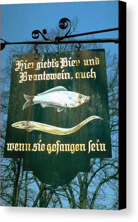 Store Sign Canvas Print featuring the photograph Fish by Flavia Westerwelle