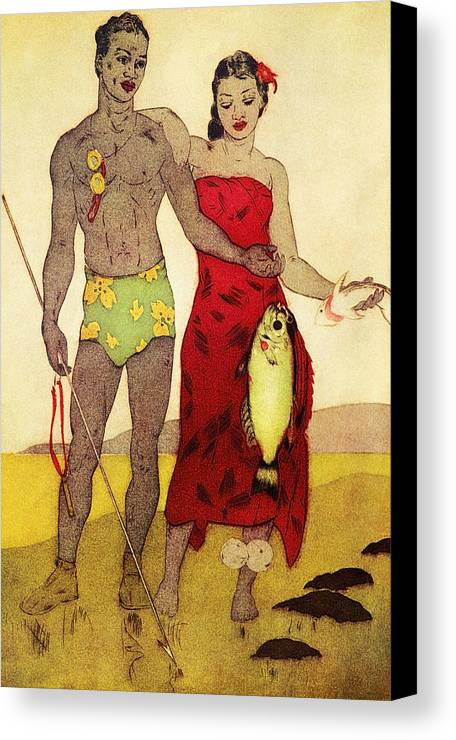 70-pfs0039 Canvas Print featuring the painting Fisherman by Hawaiian Legacy Archives - Printscapes