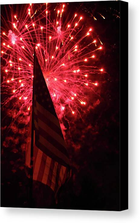 3d Canvas Print featuring the photograph Flag And Fireworks by Alan Look