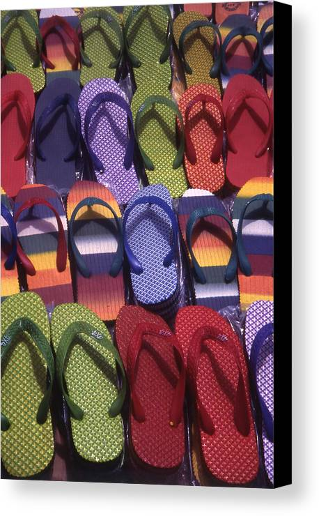 Abstract Canvas Print featuring the photograph Flip Flops by Steve Outram