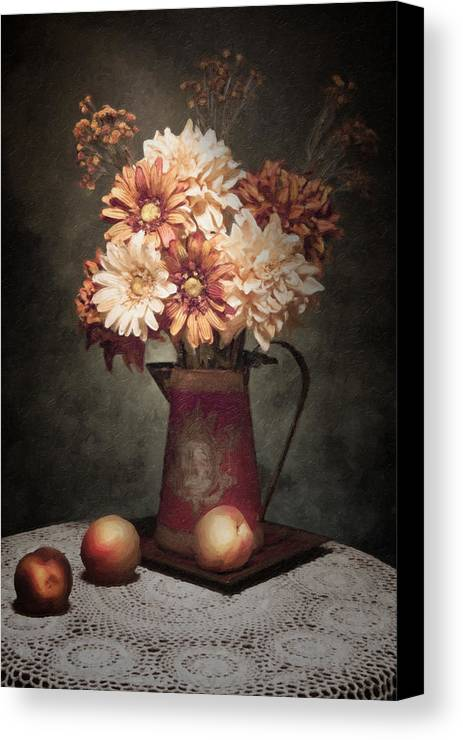 Flowers Canvas Print featuring the photograph Flowers With Peaches Still Life by Tom Mc Nemar