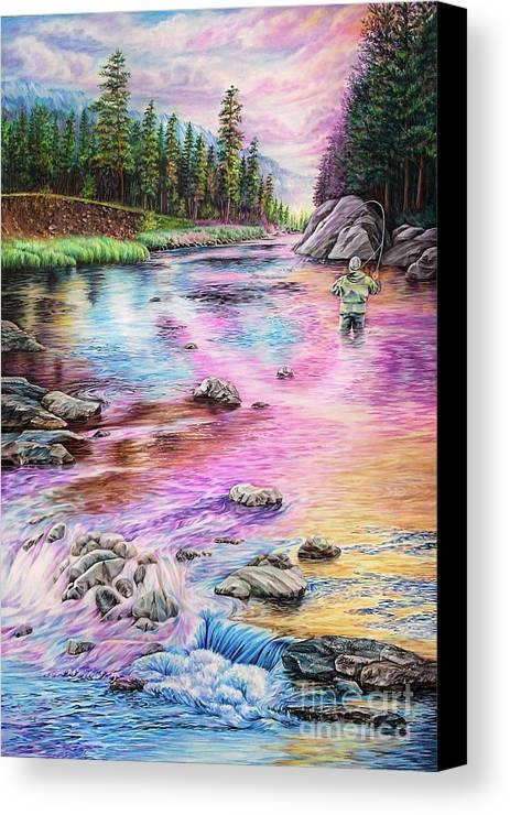 Fly Fishing Canvas Print featuring the painting Fly Fishing In River At Sunrise by Anne Koivumaki - Fine Art Anne