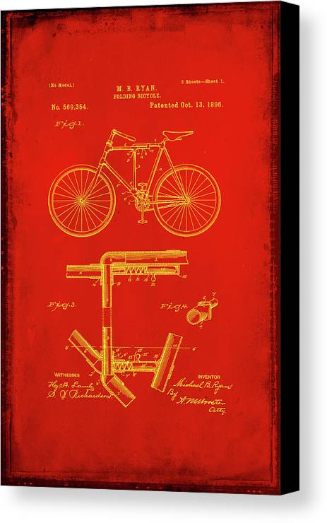 Patent Canvas Print featuring the mixed media Folding Bycycle Patent Drawing 1c by Brian Reaves