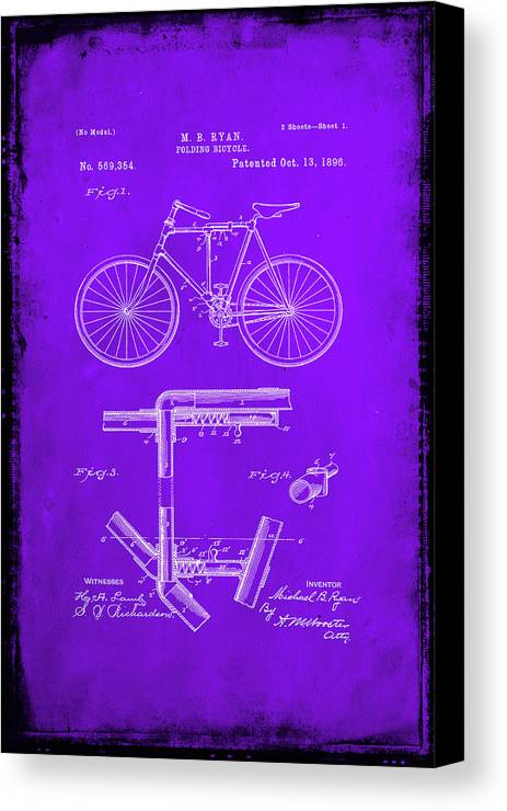 Patent Canvas Print featuring the mixed media Folding Bycycle Patent Drawing 1e by Brian Reaves