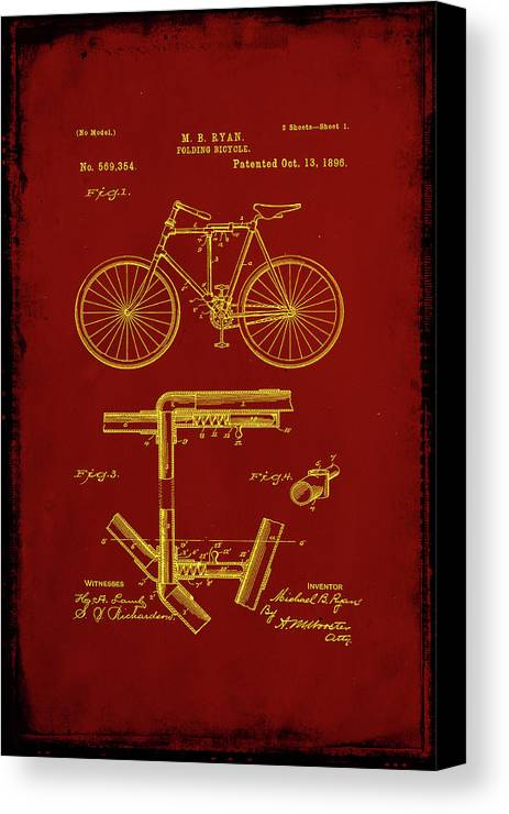 Patent Canvas Print featuring the mixed media Folding Bycycle Patent Drawing 1f by Brian Reaves