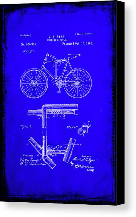 Patent Canvas Print featuring the mixed media Folding Bycycle Patent Drawing 1h by Brian Reaves