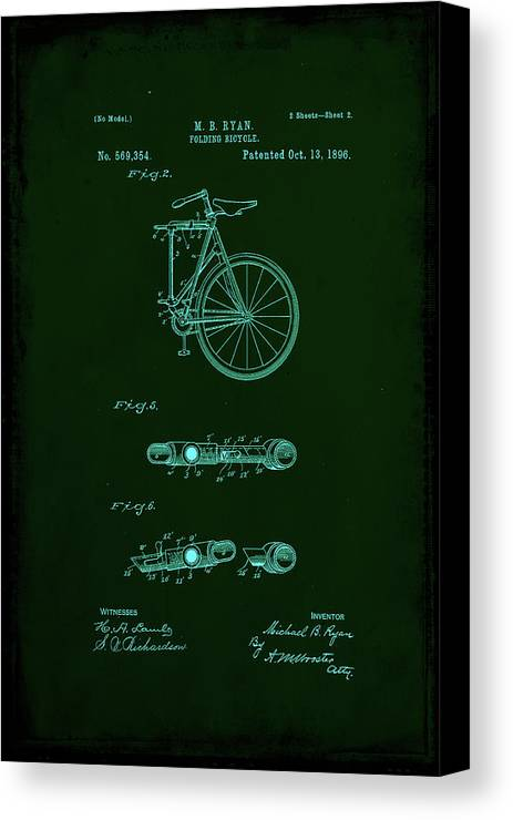 Patent Canvas Print featuring the mixed media Folding Bycycle Patent Drawing 2a by Brian Reaves