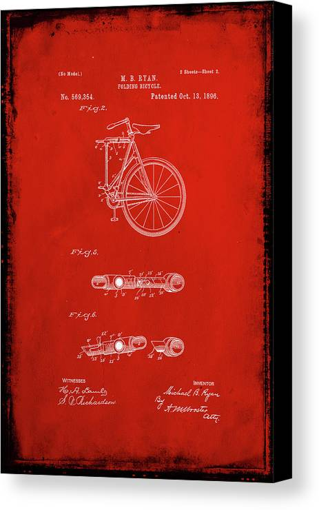Patent Canvas Print featuring the mixed media Folding Bycycle Patent Drawing 2b by Brian Reaves