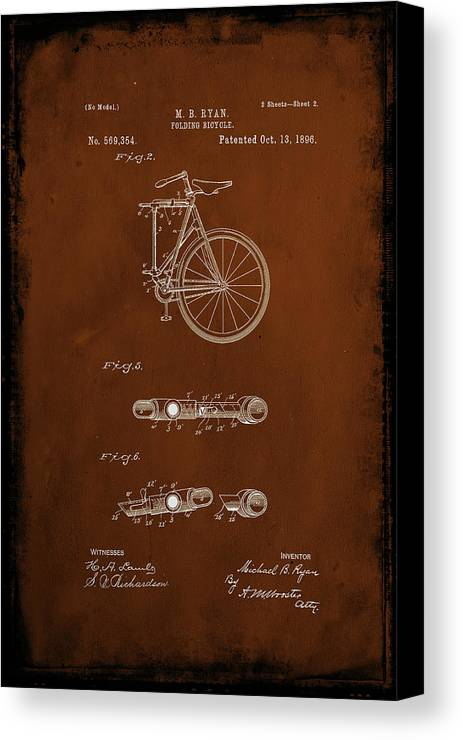 Patent Canvas Print featuring the mixed media Folding Bycycle Patent Drawing 2c by Brian Reaves