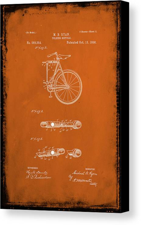 Patent Canvas Print featuring the mixed media Folding Bycycle Patent Drawing 2e by Brian Reaves