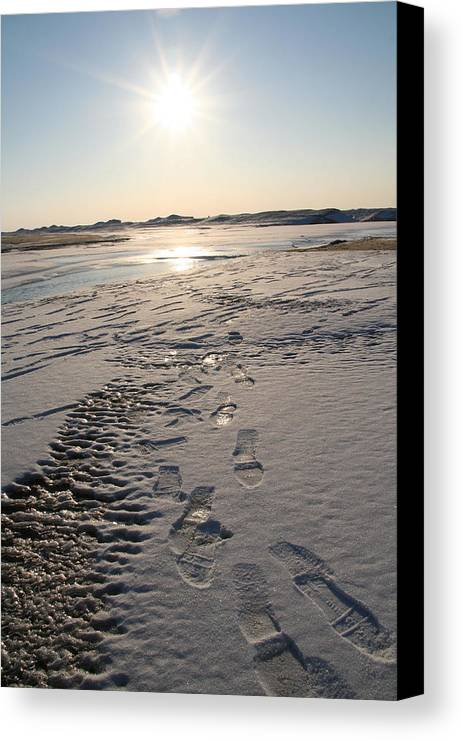Vertical Canvas Print featuring the photograph Footsteps In Frozen Landscape by Christopher Purcell