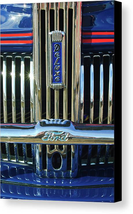 Ford Deluxe Canvas Print featuring the photograph Ford Deluxe Grille by Jill Reger