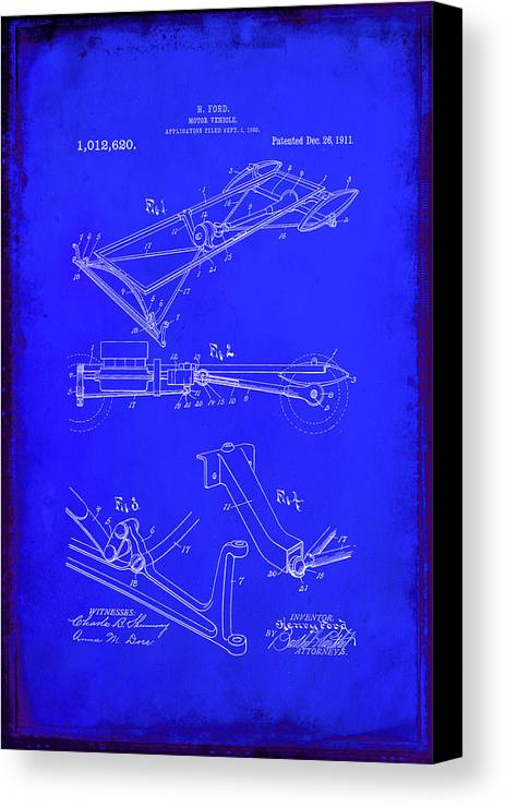 Patent Canvas Print featuring the mixed media Ford Motor Vehicle Drawing 1b by Brian Reaves