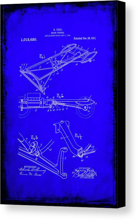 Patent Canvas Print featuring the mixed media Ford Motor Vehicle Drawing 1d by Brian Reaves