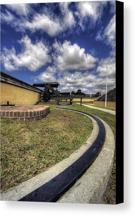 Fort Canvas Print featuring the photograph Fort Moultrie Cannon Rails by Dustin K Ryan