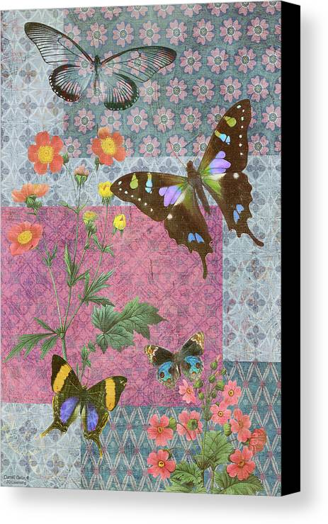 Butterfly Canvas Print featuring the painting Four Butterfly Patch Blue by JQ Licensing