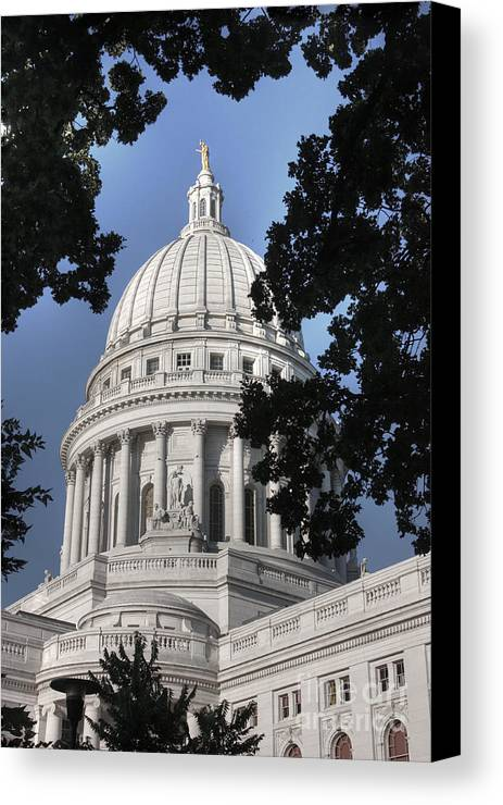 Madison Wisconsin Canvas Print featuring the photograph Framed Capitol by David Bearden