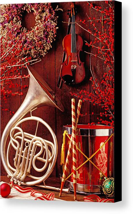 Violin Canvas Print featuring the photograph French Horn Christmas Still Life by Garry Gay