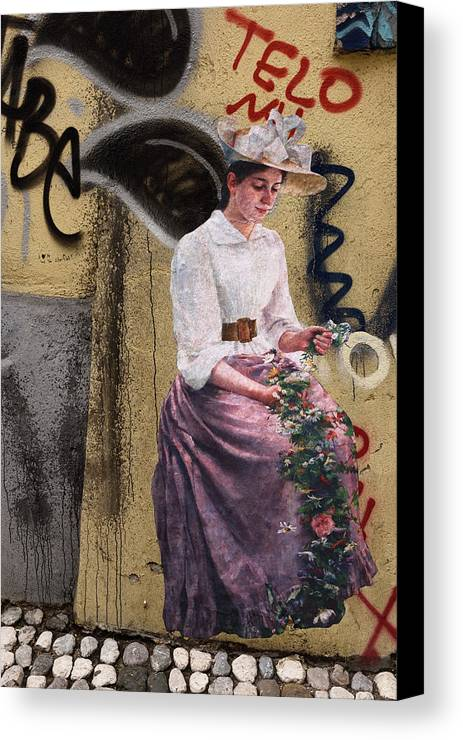Frescoe Canvas Print featuring the photograph Frescoe Painting Of A Woman In Traditional Dress With Flowers Am by Reimar Gaertner