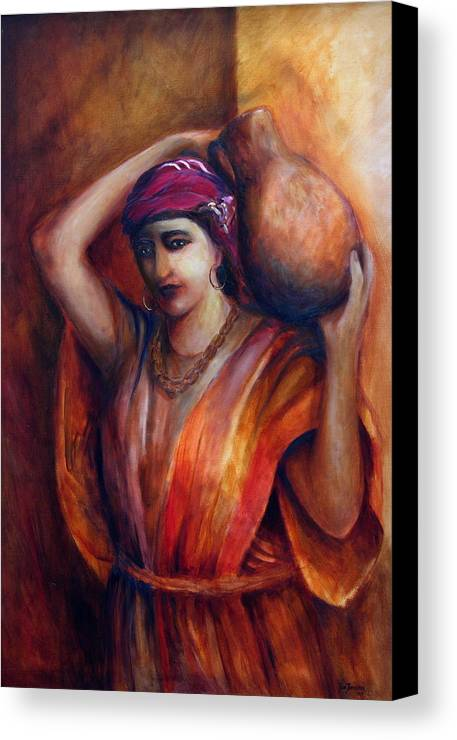 Rebekah Canvas Print featuring the painting From The Well by Jun Jamosmos