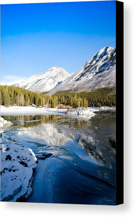 Lake Canvas Print featuring the painting Frozen In Time by Manu Singh
