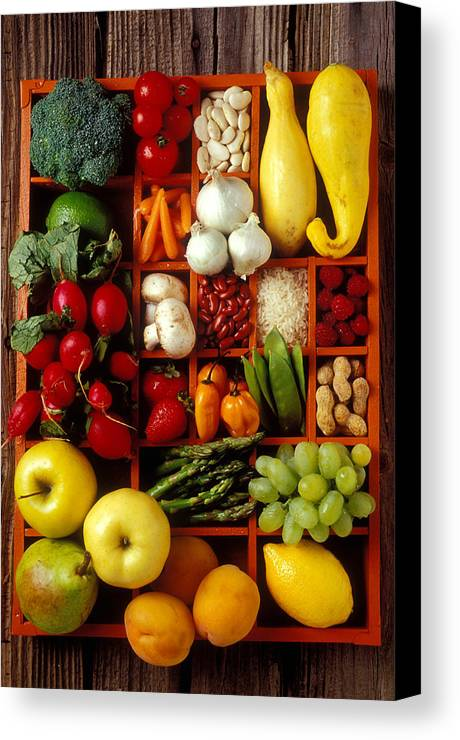 Fruits Vegetables Apples Grapes Compartments Canvas Print featuring the photograph Fruits And Vegetables In Compartments by Garry Gay