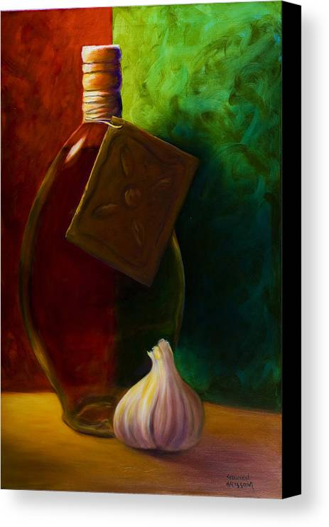 Shannon Grissom Canvas Print featuring the painting Garlic And Oil by Shannon Grissom