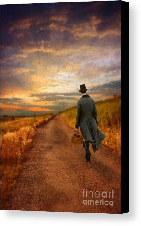 Young Canvas Print featuring the photograph Gentleman Walking On Rural Road by Jill Battaglia
