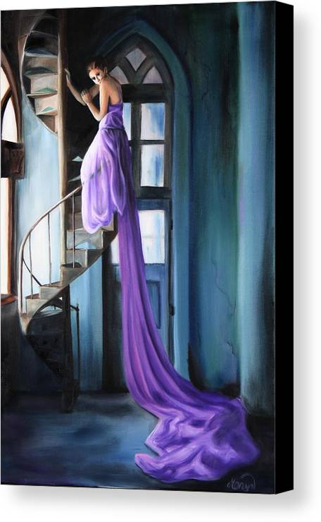 Girl Canvas Print featuring the painting Girl On Staircase by Maryn Crawford