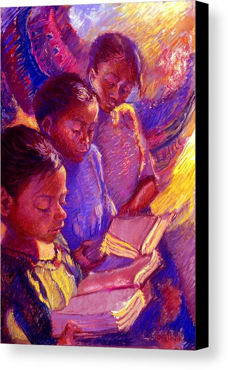 Girls Canvas Print featuring the painting Girls Reading by Ellen Dreibelbis