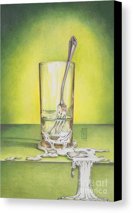 Bizarre Canvas Print featuring the painting Glass With Melting Fork by Melissa A Benson