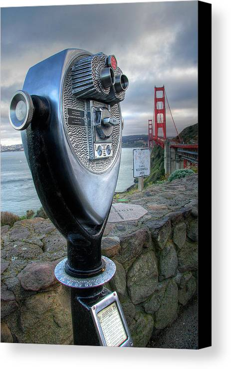 California Canvas Print featuring the photograph Golden Gate Binoculars by Peter Tellone